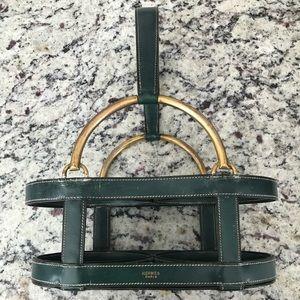 Vintage Hermes decanter holder leather brass